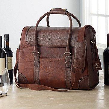 6-Bottle Leather Wine Bag