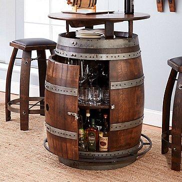 Vintage Oak Wine Barrel Bistro Table & Bar Stools