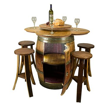 Barrel Table with Storage and 4 Stools