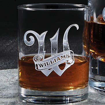 Deep Etched Whiskey Glasses