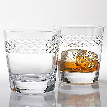 Double Old Fashioned Glasses With Diamond Band