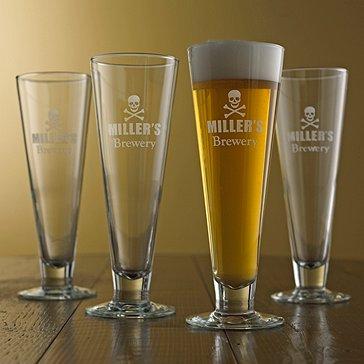Personalized Skull and Crossbones Pilsner Glasses