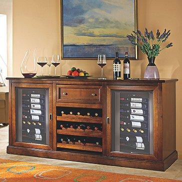 Siena Wine Credenza with Two Wine Refrigerator