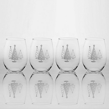 Etched Christmas Tree Stemless Tumblers