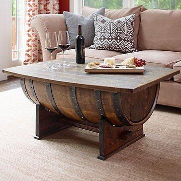 Vintage Oak Whiskey Barrel Coffee Table