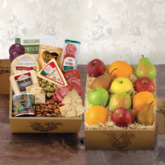 Wine Fruit Gifts Baskets Fruit cheese bonanza double deck