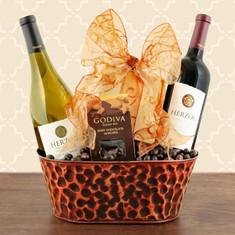 Wine Fruit gift Basket Herzog Special Reserve Wine Duo