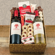 Wine Fruit Gift Baskets Holly Jolly Red and Wine