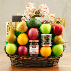 Wine Fruit Gift Basket Masada Fruit & Kosher Food Gift Basket