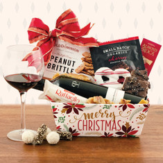 Wine Fruit Gift Baskets Merry & Bright Red Wine
