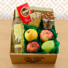 Wine Fruit Gift Baskets White Wine Fruit & Snax Gift Box